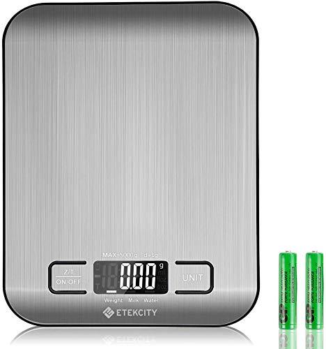 Etekcity Báscula de Cocina Digital de Precisión, Balanza Cocina de Acero Inoxidable 5 kg/ 11 lbs, Peso Cocina Multifuncional, Pantalla LCD, 2 Baterías Incluidas