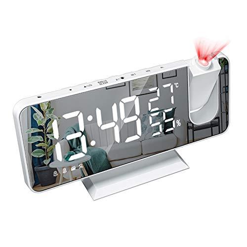 YYR Projektions-Wecker, LED-Spiegel-Wecker mit FM Radio, 4-Gang-Dimmung, 12 / 24H, Temperatur, Snooze-Funktion, USB Charging, für Haus, Büro,Weiß