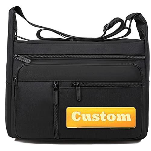 FireH personalizzato nome Messenger Bag Crossbody grande per la scuola tela uomini cinghia Messenger Bag (Colore: nero, taglia: taglia unica)