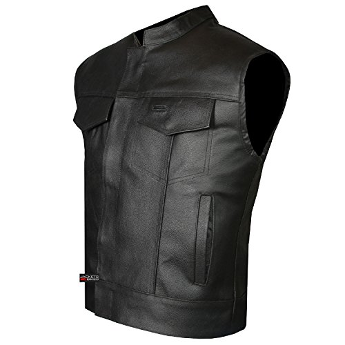 SOA Men's Leather Vest Anarchy Motorcycle Biker Club Concealed Carry...