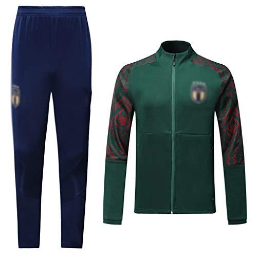 Jinjuntech Esclusivo Tifosi! Club Uomo Calcio Europeo a Maniche Lunghe Sportswear Verde Estate Traspirante Calcio Vestiti di addestramento (Top + Pants) -WEO256 (Color : Green, Size : L)