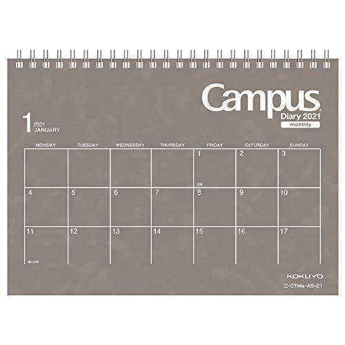 コクヨキャンパスダイアリー手帳卓上2021年A5マンスリーグレーニ-CTMM-A5-212020年12月始まり