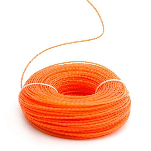 Anladia 100M Trimmerfaden 2,4 mm Mähfaden Nylonfaden Rasentrimmerschnur Ersatzfaden Motorsense Fadenspule, Twist, 2.4MM, Orange
