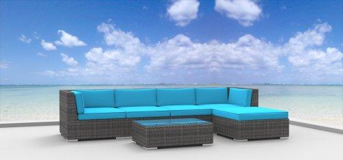 Hot Sale Urban Furnishing - MALO 6pc Modern Outdoor Backyard Wicker Rattan Patio Furniture Sofa Sectional Couch Set - Sea Blue