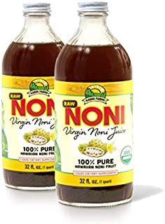 Virgin Noni Juice - RAW (Unpasteurized) 100% Pure Organic Hawaiian Noni Juice - 2 Pack of 32oz Glass Bottles
