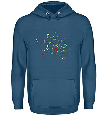 T-Shirt - Farbspritzer auf Textilien, Unisex Kapuzenpullover Hoodie -S-Azurblau
