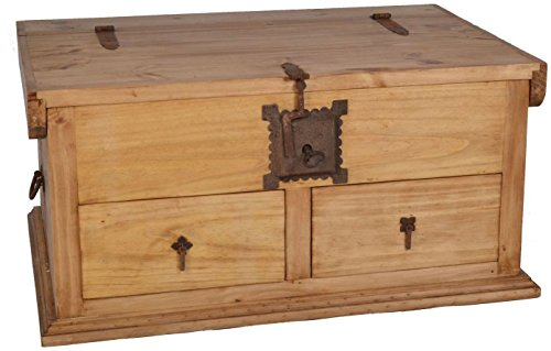 MiaMöbel Truhentisch Mexico Möbel 90x44x64 cm Landhausstil Massivholz Pinie Honig