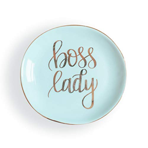 Mint Boss Lady Jewelry Dish | Motivational Circle Gold Ceramic Ring Inspirational Trinket Tray Gift for Her Desk Storage Accessories Office Decor Hand Lettered