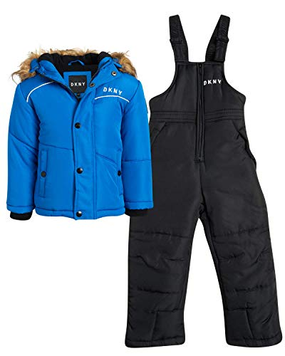 DKNY Boys 2-Piece Puffer Ski Jacket and Insulated Snowbib Snowsuit Set (Infant/Toddler), Size 18 Months, Blue
