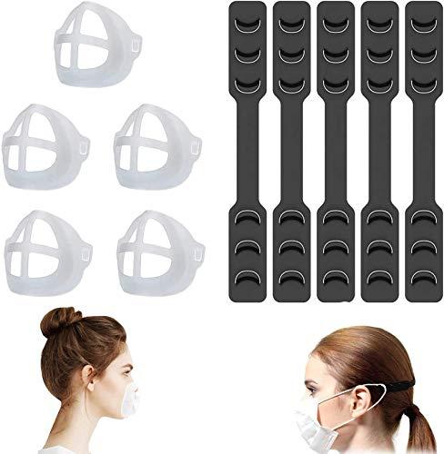 5 Sets Mask Extender Strap Mask Bracket, Reusable Mask Ear Strap Hook, Washable 3D Face Nose Mouth Bracket Mask Inner Support Frame,Adjustable Ear Strap Accessories