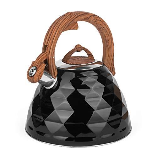 Bollitore nero lucido 3 L per tutti i tipi di fornello in acciaio inox con manico e coperchio in cristallo da campeggio nero