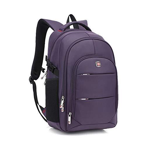 AUGUR Einfarbiger Business-Rucksack, 15,6-Zoll-Laptop-Tragetasche Mit Großer Kapazität, USB-Reiseladerucksack, Unisex,Lila,S