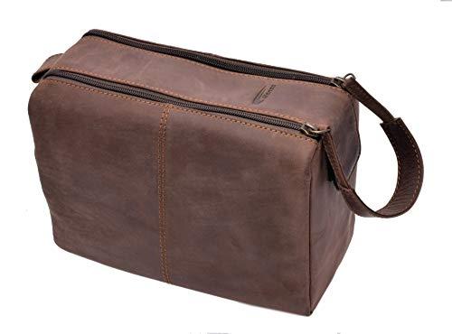 Menzo Leder Kulturbeutel, Kulturtasche, Toilettentasche für die Reise, Herren und Damen (Marrone)