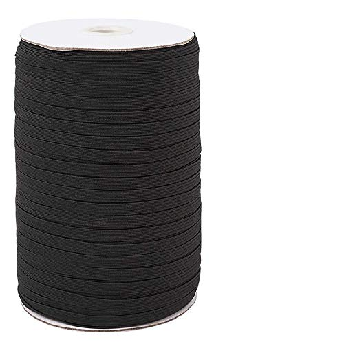 【200 Yards】Flat Elastic Band, 1/4 inch-6mm Elastic String Cord Elastic Bands Rope, Braided Stretch Strap Cord Roll for Sewing and Crafting, Braided Elastic Cord Elastic String, Heflashor Elastic