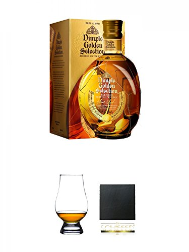 Dimple Golden Selection Blended Scotch Whisky 0,7 Liter + The Glencairn Glass Whisky Glas Stölzle 1 Stück + Schiefer Glasuntersetzer eckig ca. 9,5 cm Durchmesser