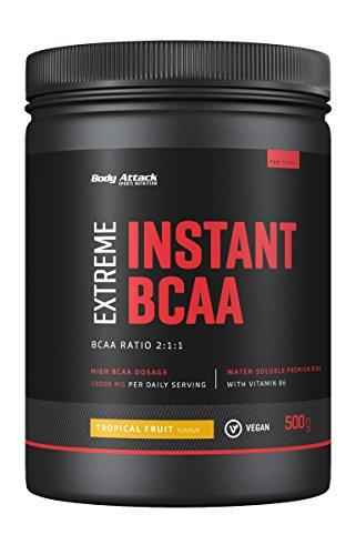 Body Attack - Extreme Instant BCAA Pulver, 500 g für 38 Shakes mit 10000 mg BCAAs, lecker, sofort löslich, vegan, BCAA-Verhältnis 2:1:1 (L-Leucin : L-Valin : L-Isoleucin), Made in Germany, Tropical