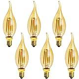 6-Pack E14 4W C35 Dimmable LED Filament Bulb, 2200K Warm White 400LM Edison Candle Flame Shape Bent Tip Light Bulb, C35 Amber Glass Globe Cover, 40 Watt Equivalent, AC 110V