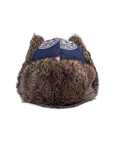 GULLIVER Mütze Junge Wintermütze Kinder Pelzmütze Ohrenmütze Navy Blau mit Patch Warm 3 6 Jahre 52 cm 54 cm