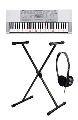 Casio - Set comprensivo di tastiera LK-280 con tasti luminosi, piedistallo e cuffie (con 61 tasti dinamici, porta USB, slot per scheda SD, sistema di apprendimento Step-Up e jack per microfono), ideale anche per principianti