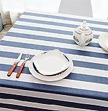 laokudy Mantel Lavable Blanco y Rayas Azul Rectangular Mantel de Algodón Lino Impermeable Cubierta de Mesa Escritorio Comedor Fiesta Exterior Decorativo140 * 180cm