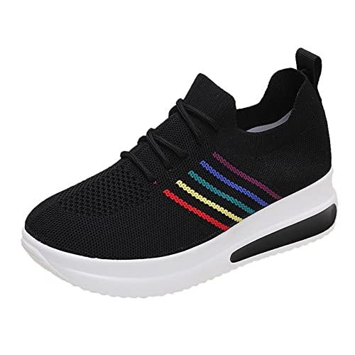 Mujer Zapatillas Casual Zapatos Deportivas Cómodos Fitness Atlético Paseo Correr Calzado Transpirable Ligero Deporte Sneakers (G40_Black,42)