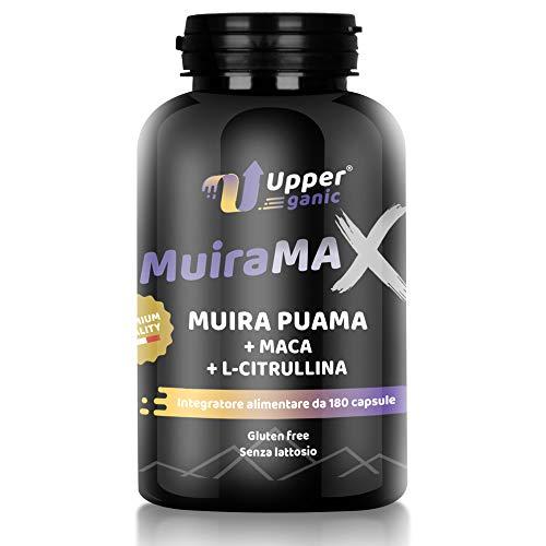 Upperganic Muira Puama 1300 mg + Maca Root Peruviana 1000 mg + L-Citrullina 1600 mg + Zinco ad Alto Dosaggio in Polvere | Integratore da 180 Capsule | Made In Italy