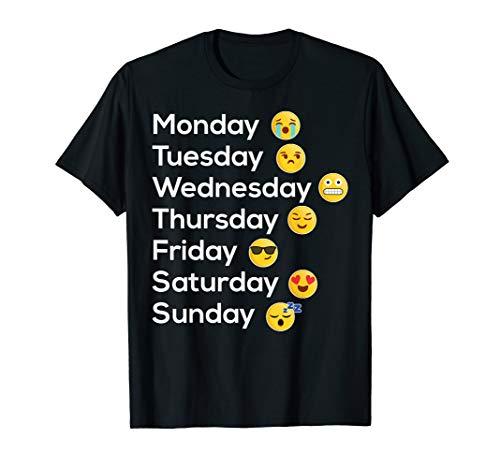 Smiley T-Shirt - Wochentag Stimmung Emoji T-Shirt Geschenk