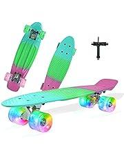 لوح تزلج كامل 22 انش كروزر مسطح مع عجلات باضاءة ليد للاطفال من سن 6 إلى 12، للمبتدئين والبنات والاولاد والمراهقين، مع اداة تزلج متكاملة على شكل حرف T