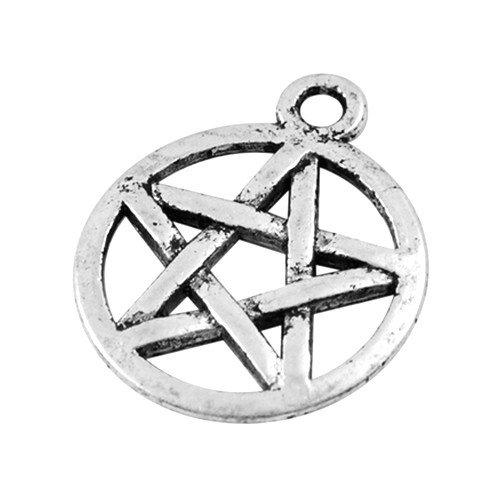 Tibetan Pagan Pentagram Charm Pendants Antique Silver 17mm Pack of 10