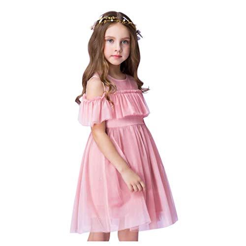 Robe pour Bébé Fille,BUKINIE Robe de Fille Manche Courte Pageant Fête d'anniversaire Robe Fleur Maille Robe Tenues D'été Robe D'été(Rose,2-3 Ans)