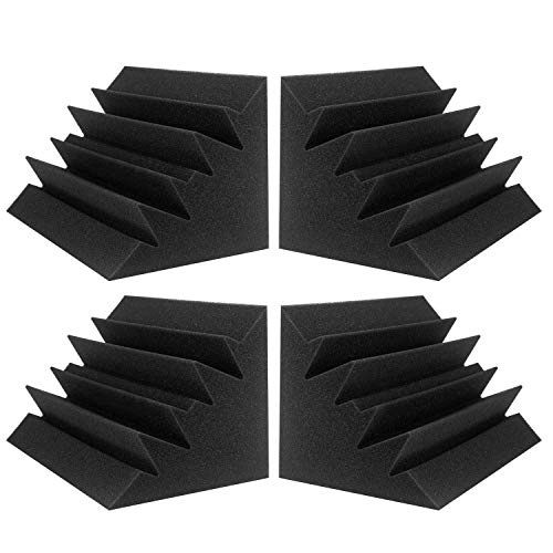 "JBER 4 Pack Acoustic Foam Bass Trap Studio Foam 12"" X 7"" X 7"" Soundproof Padding Wall Panels Corner Block Finish for Studios Home and Theater"