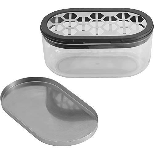 WMF Kitchen Classics–Rallador de queso, con depósito y tapa, Cromargan Acero Inoxidable, plástico, 15x 8,5x 7cm