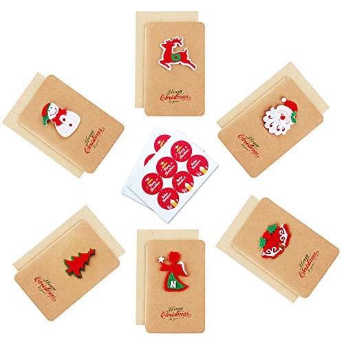 Cartoline di Natale 3D, 12 buste e buste Cartoline d'auguri di buon Natale Biglietti di...