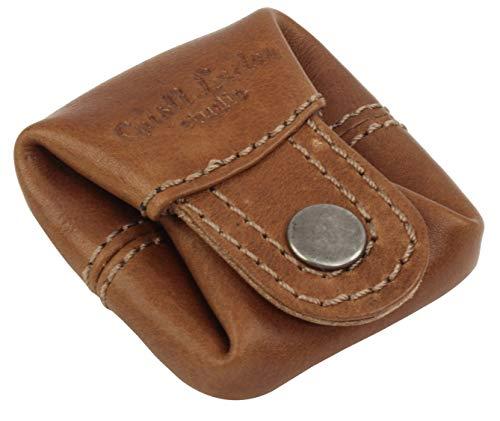 Gusti Kleingeldbörse Leder - Linus Münzbörse Wiener Schachtel Münzbeutel Coin Purse klein Hellbraun