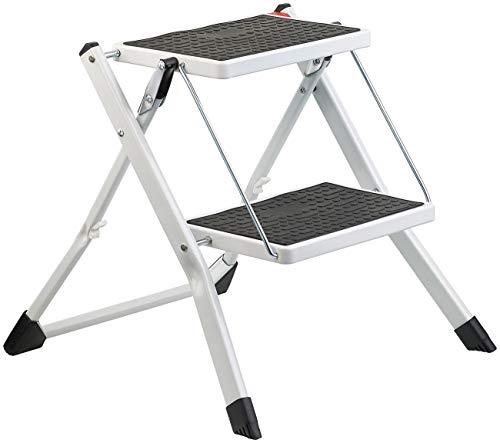 AGT Trittleiter: Mini-Klapptritt aus Stahl mit 2 rutschfesten Stufen, Klapp-Sicherung (Tritthocker)