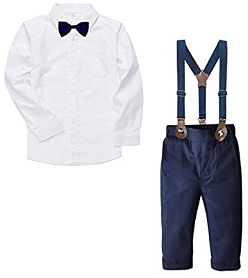 Baby Boy's Dress Clothes, Long Sleeves Plaids Button Down Dress Shirt with Bow Tie + Suspender Pants Set Tuxedo Outfit Clothing for Infant Newborn Toddlers, White, Tag 70 = 9-12 Months by