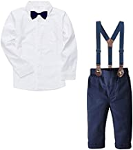 Baby Boy's Dress Clothes, Long Sleeves Plaids Button Down Dress Shirt with Bow Tie + Suspender Pants Set Tuxedo Outfit Clothing for Infant Newborn Toddlers, White, Tag 120 = 3-4 Years