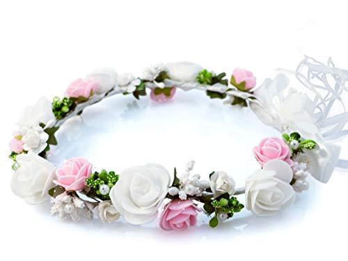 🕊️ Oia Kopfschmuck Erstkommunion Haarschmuck Blumenkranz Haare Haarreifen Mädchen blüten Haarschmuck haarkranz Hochzeit Rose Gold kommunion Kranz Weiß
