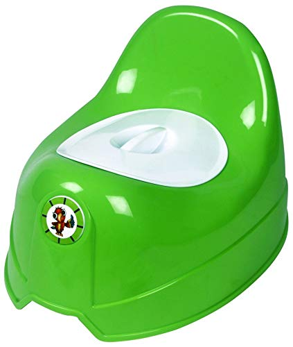 Sunbaby Potty Toilet Trainer Seat/Chair with Lid and High Back Support for Toddler Boys Girls (Age 7 Months to 3 Years)(Green White)