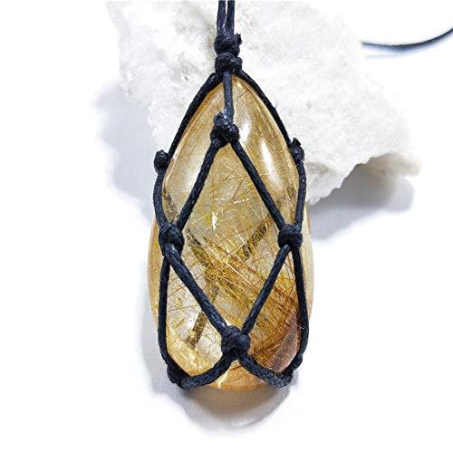 Ablerfly Halskette natürlichen Kristall Stein Anhänger, Wrap Braid Halskette Yoga Macrame für Männer Frauen, Energie natürlichen Rutilquarz