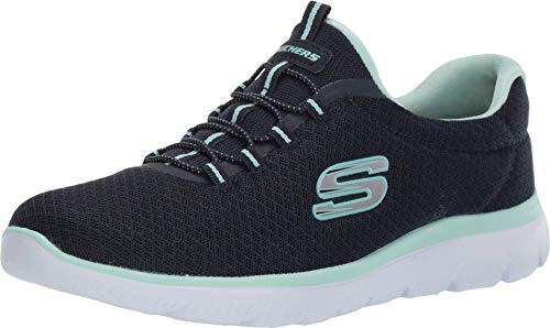Skechers Women 12980 Low-Top Trainers, Blue (Navy/Aqua), 5 UK (38 EU)