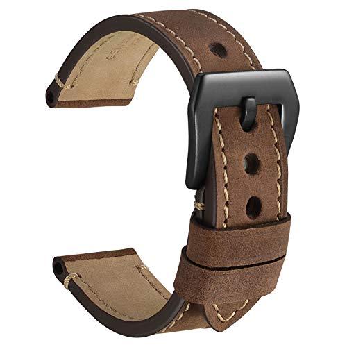 WOCCI 22mm Micro Suede Crazy Horse Correa de Reloj de Cuero con Hebilla Negra (Marrón Oscuro)