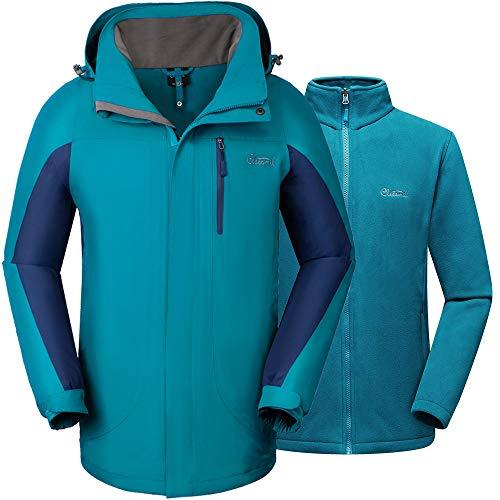 Cleesmil Chaqueta de esquí Impermeable para Hombre a Prueba de Viento Chaqueta Invierno para Montaña con Forro Polar Abrigos y Capucha Azul Eléctrico (L)