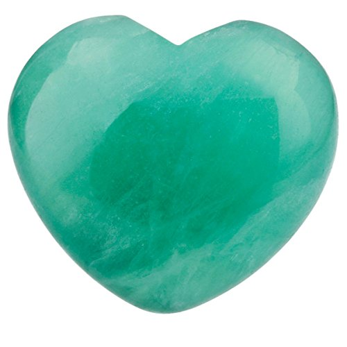 rockcloud Healing Crystal 1.6 inches Green Fluorite Heart Love Carved Palm Worry Stone Chakra Reiki Balancing