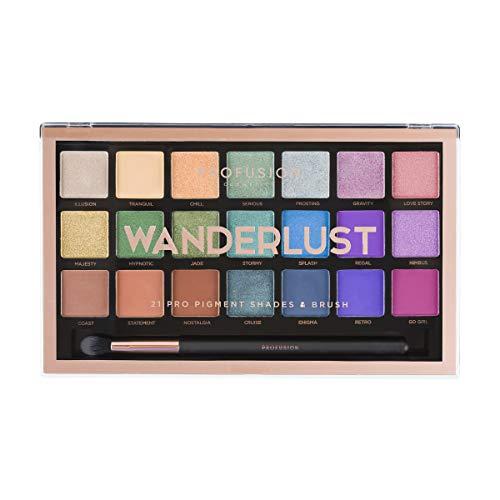 Profusion Cosmetics Wanderlust Lidschattenpalette, 21 Farbtöne mit kostenlosen Pro Series Make-up Pinsel