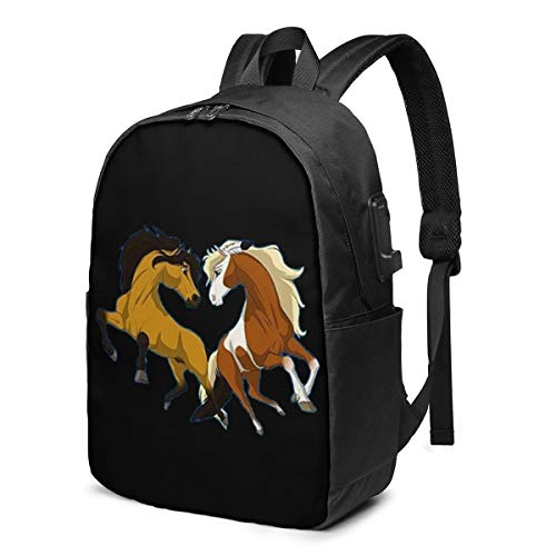 TIMMEAGE Spirit Stallion of The Cimarron USB Charging Port School Bag Outdoor Adjustable Backpack