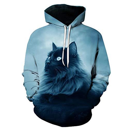 x8jdieu3 Herren Hoodie Herbst und Winter Neue Kreative Katze 3D Druck Sweatshirt Lose Hoodie Sweatshirt Top