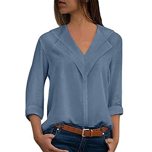 Chemisier Femme Dentelle Tunique Haut Femme Chic Manches Longues Tops Blouse Pull Col Rond Patchwork T Shirt Casual T-Shirt Chemisier Blouse Covermason (Bleu/Ciel, S)