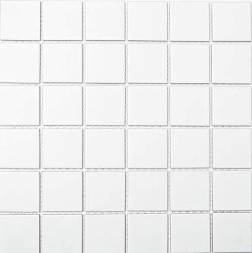 Mosaikfliese Quadrat uni weiß matt Keramikfliese, Mosaikstein Format: 48x48x6 mm, Bogengröße: 306x306 mm, 1 Bogen/Matte