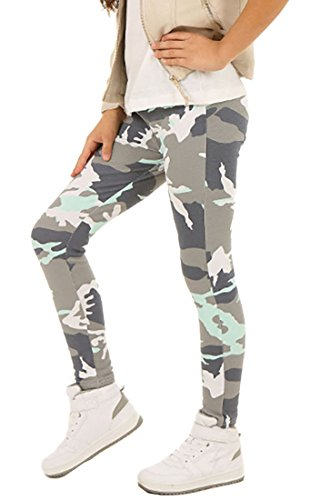 ModaFresca Baumwolle Leggings für Mädchen Frühling Smmer Lange Leggings Baby Fitness Hose Kinder Sport Girl Power (Camouflage Minze, 158)
